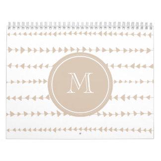 Beige White Aztec Arrows Monogram Calendar