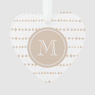 Beige White Aztec Arrows Monogram Ornament