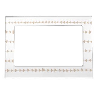Beige White Aztec Arrows Pattern Magnetic Photo Frame