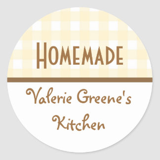 Beige white brown gingham homemade food label seal classic round sticker