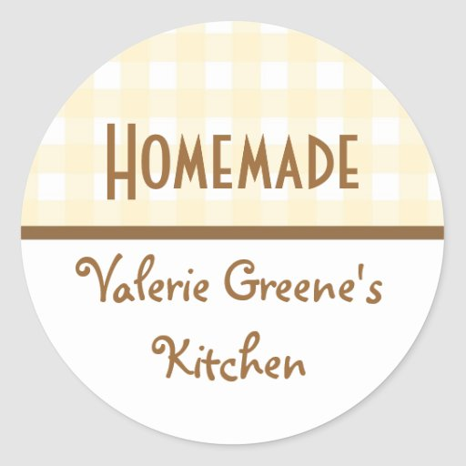 Beige white brown gingham homemade food label seal sticker