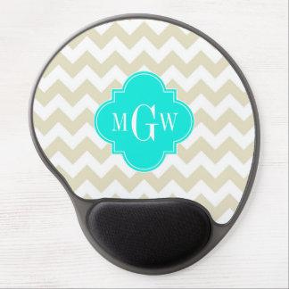 Beige White Chevron Aqua Quatrefoil 3 Monogram Gel Mouse Pad