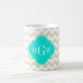 Beige White Chevron Aqua Quatrefoil 3 Monogram Classic White Coffee Mug