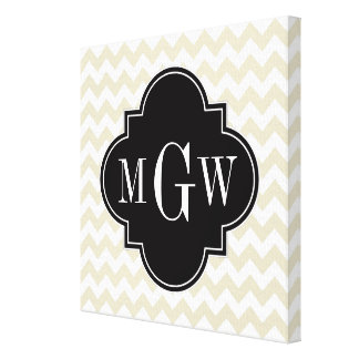Beige White Chevron Black Quatrefoil 3 Monogram Canvas Print