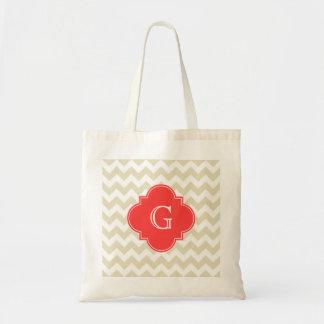 Beige White Chevron Coral Red Quatrefoil Monogram Tote Bags