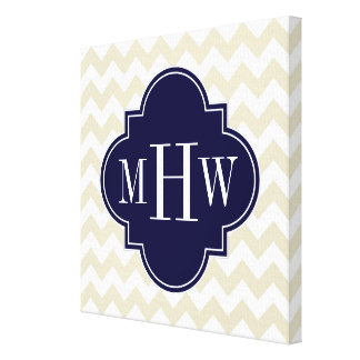 Beige White Chevron Navy Quatrefoil 3 Monogram Canvas Print