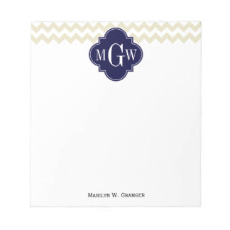Beige White Chevron Navy Quatrefoil 3 Monogram Note Pad