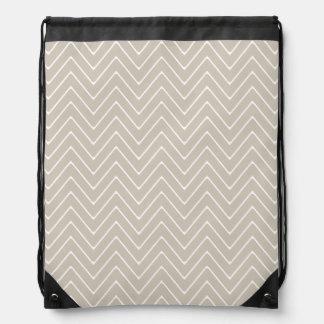 Beige White Chevron Pattern Cinch Bag