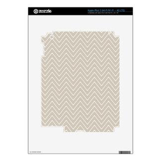 Beige White Chevron Pattern iPad 3 Decals