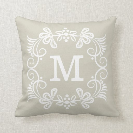 Beige Decorative Throw Pillows : Beige White Custom Monogram Decorative Throw Pillow Zazzle