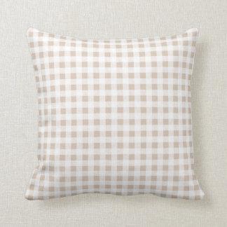 Beige White Gingham Pattern Throw Pillow