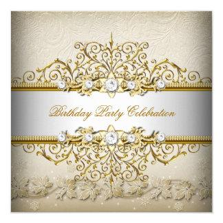 Beige White Gold Cream Elegant Party Invitation