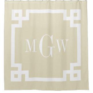 Beige White Greek Key #2 Framed 3I Monogram Shower Curtain