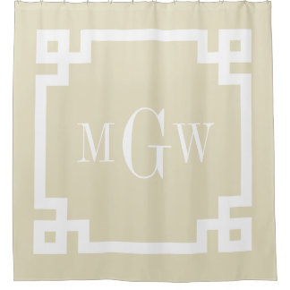 beige white greek key 2 framed 3i monogram shower curtain