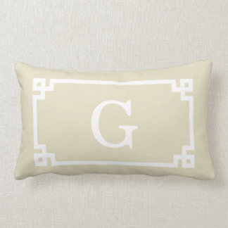 Beige White Greek Key Frame #2 Initial Monogram Lumbar Pillow