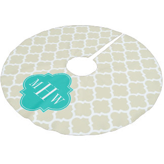 Beige White LG Chevron Teal Name Monogram Brushed Polyester Tree Skirt