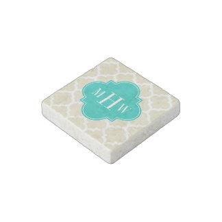 Beige White LG Chevron Teal Name Monogram Stone Magnet