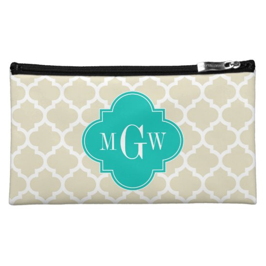 Beige White LG Chevron Teal Name Monogram Makeup Bag