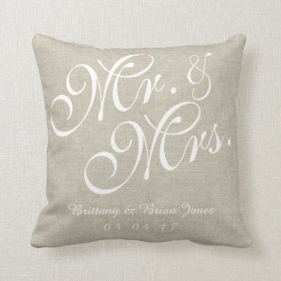 Beige White Linen Mr. And Mrs. Wedding Pillow at Zazzle