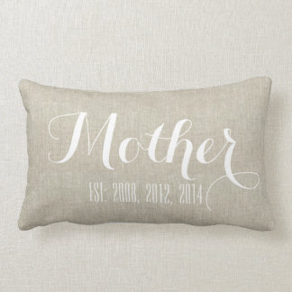 Beige White Linen Personalized Mother's Day Gift Lumbar Pillow