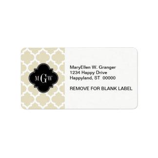 Beige, White Moroccan #5 Black 3 Initial Monogram Personalized Address Label