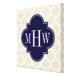Beige, White Moroccan #5 Navy 3 Initial Monogram Stretched Canvas Print
