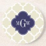 Beige, White Moroccan #5 Navy 3 Initial Monogram Drink Coasters