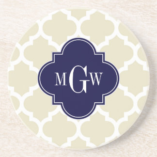 Beige, White Moroccan #5 Navy 3 Initial Monogram Drink Coasters