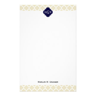 Beige, White Moroccan #5 Navy 3 Initial Monogram Stationery