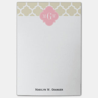 Beige, White Moroccan #5 Pink 3 Initial Monogram Post-it Notes