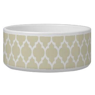 Beige White Moroccan Quatrefoil Pattern #4 Bowl