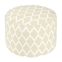 Beige White Moroccan Quatrefoil Pattern #4 Pouf