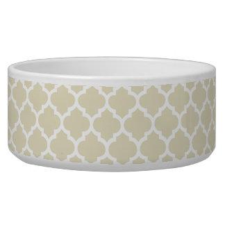 Beige White Moroccan Quatrefoil Pattern #5 Bowl
