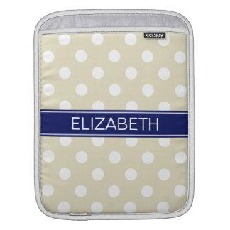 Beige White Polka Dots #2 Navy Name Monogram iPad Sleeve