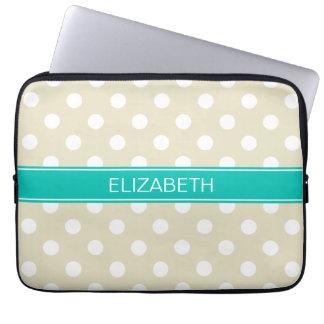 Beige White Polka Dots #2 Teal Monogram Laptop Sleeve