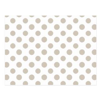 Beige White Polka Dots Pattern Postcard