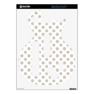 Beige White Polka Dots Pattern Decal For Guitar Hero