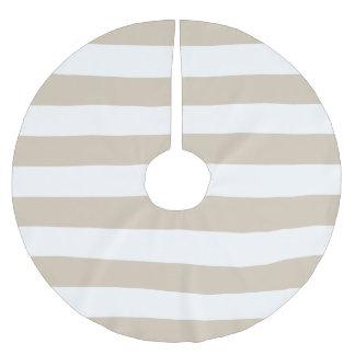 Beige & White Stripes Brushed Polyester Tree Skirt