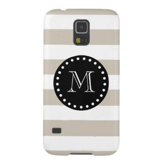 Beige White Stripes Pattern, Black Monogram Galaxy S5 Case