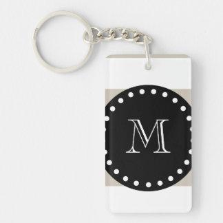 Beige White Stripes Pattern, Black Monogram Keychain