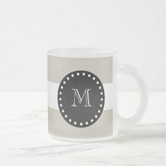 Beige White Stripes Pattern, Black Monogram 10 Oz Frosted Glass Coffee Mug