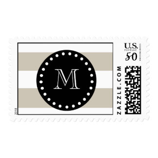 Beige White Stripes Pattern, Black Monogram Postage