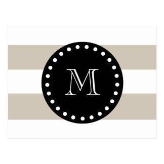 Beige White Stripes Pattern, Black Monogram Postcard