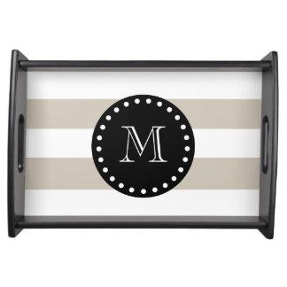 Beige White Stripes Pattern, Black Monogram Service Tray