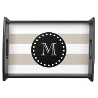 Beige White Stripes Pattern, Black Monogram Serving Tray