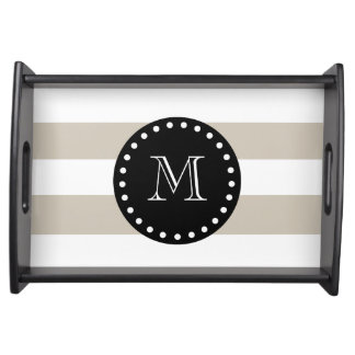 Beige White Stripes Pattern, Black Monogram Serving Tray