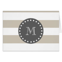 Beige White Stripes Pattern, Charcoal Monogram Card