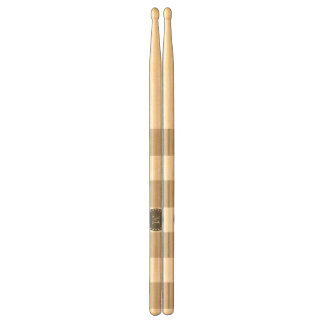 Beige White Stripes Pattern, Charcoal Monogram Drumsticks