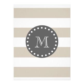 Beige White Stripes Pattern Charcoal Monogram Announcement