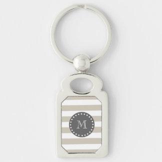 Beige White Stripes Pattern, Charcoal Monogram Keychain